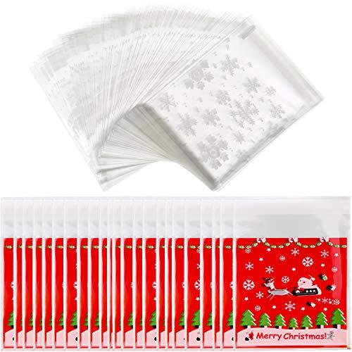 200 Stück Weihnachten Klare Süßigkeiten Taschen Selbstklebende Cellophan-Leckerei-Taschen Cookie-Taschen mit Schneeflocke Weihnachten Elk Patterns für Party Lieferungen, 2 Stil Plätzchen Taschen