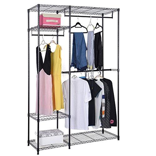 COSTWAY Kleiderschrank aus Metall, Garderobenständer mit Kleiderstangen, Stoffschrank 180x120x45cm,...