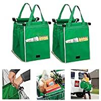 Jazooli Set of 2 Heavy Duty Reusable Supermarket Shopping Large Trolley Cart Basket Bag