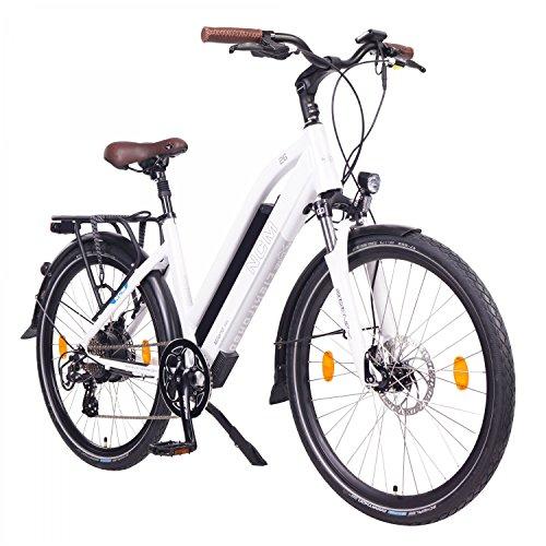"NCM Milano 48V, 26\"" / 28\"" Zoll Damen & Herren Urban E-Bike Elektrofahrrad Pedelec, 250W Das-Kit Heckmotor, 13Ah 624Wh Li-Ion Zellen Akku, mechanische Scheibenbremsen, 7 Gang Schaltung (26\"" Weiß)"