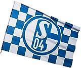 Stockflagge FC Schalke 04 Karo - 60 x 90 cm + gratis Aufkleber, Flaggenfritze