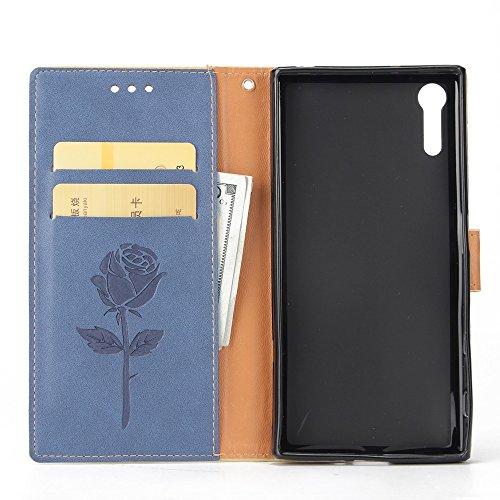 Dual Color Matching Premium PU Leder Flip Stand Case Cover mit Card Cash Slots und Lanyard für Sony Xperia XZ ( Color : Gold ) Blue