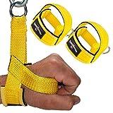 1 Paar Einhand Kabelzug Griffe / Trainings Griff / Latzug Einhandgriff GELB inkl. 1 Paar Karabiner