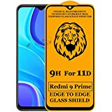 Xester® 11D Tempered Glass Screen Protector Compatible with Redmi 9 Prime(Black) Edge to Edge Full Screen Coverage with Easy Installation Kit (Pack of 1)