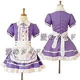 tzm2016 Womens Lolita French Maid Cosplay Costume, 4 pcs as a set including dress; headwear; apron; fake collar ( purple