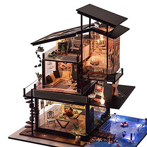 SOSAWEI DIY Puppenhaus Holz Mini Handmade Kit Für Mädchen Kabine Märchen Dekoration Haus, Kreative Geburtstag/Weihnachten. (Märchen-geburtstag Dekorationen)
