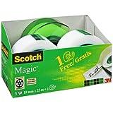 3M AAMT-3 Scotch Handabroller AAMT-3 inklusiv 3 Rollen Scotch Magic Klebeband, 19 mm x 25m, Abroller gratis