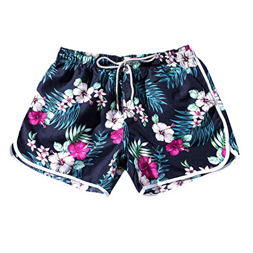 Bordrtes Frauen Paare Strand Floral Badeshorts Trunks Nickelhosen National Sand Beach Badehose Blue One Size - Bulk Sand-dollar