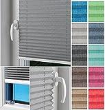 HOME-VISION blickdicht Plisse-rollo zum Kleben EASYFIX Montage im Glasfalz, Leinenoptik Kollektion