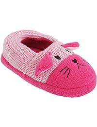 Zapatillas de estar por casa de punto con diseño de gato para niñas