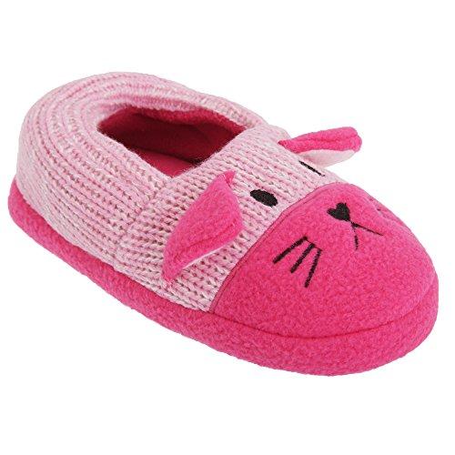 Mädchen Strick Hausschuhe Katze Pink