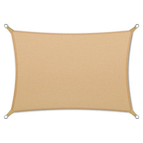 casa pura® Sonnensegel wasserabweisend imprägniert | Rechteck | Testnote 1.4 | UV Schutz | verschiedene Farben und Größen (sandfarben, 5x7m)