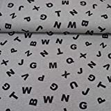 MAGAM-Stoffe Evan Alphabet Sweat Stoff Kinder Oeko-Tex Meterware 50cm
