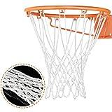 Hsei Schwerlast Basketballnetz Ersatz Alle Wetter Basketballnetz für Standard Innen oder Außen, 12 Schleifen (Weiß)