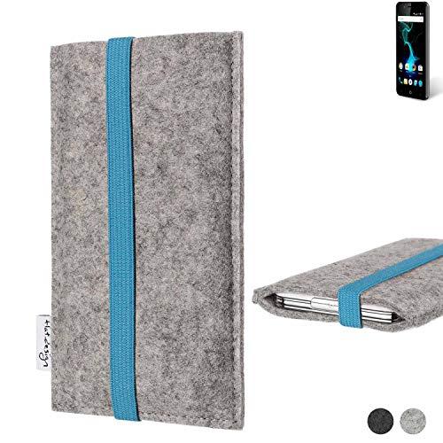 flat.design Handy Hülle Coimbra für Allview P6 Pro - Schutz Case Tasche Filz Made in Germany hellgrau türkis