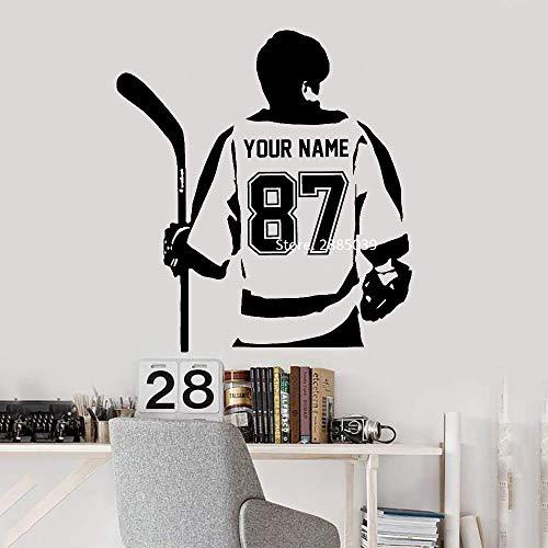 hllhpc Personalisierte Benutzerdefinierte Hockey Player Wandtattoo Art Home Deco Hockey Boy Poster Aufkleber Vinyl Aufkleber Decor Schlafzimmer Wand Tür 70 * 76 cm