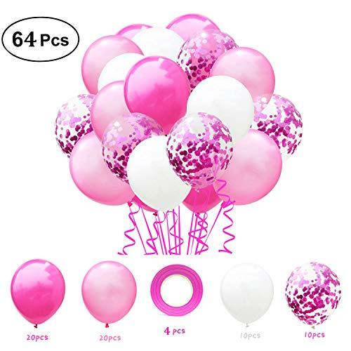 Lrikas palloncino rosa 64pcs palloncini coriandoli, palloncini rosa e bianch, palloncini in lattice, compleanno decorazioni per feste, baby shower festa di natale, cerimonia (rosa)