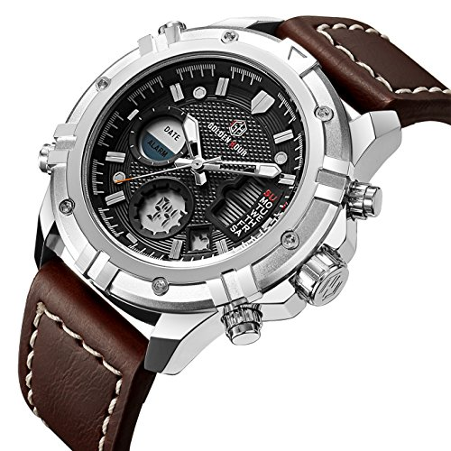 Herren-Armbanduhr, sportliches Design, Digital-Analog-Kombination, wasserdicht, multifunktional, Alarmfunktion, Stoppuhrfunktion, Armband aus Leder in Braun