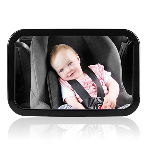 Preisvergleich Produktbild iRegro Rücksitzspiegel für Babys, Große Rückspiegel für hintere Sitz Kind zugewandt Passt in jede verstellbare Kopfstütze , Neige und Drehfunktion, splitterfrei