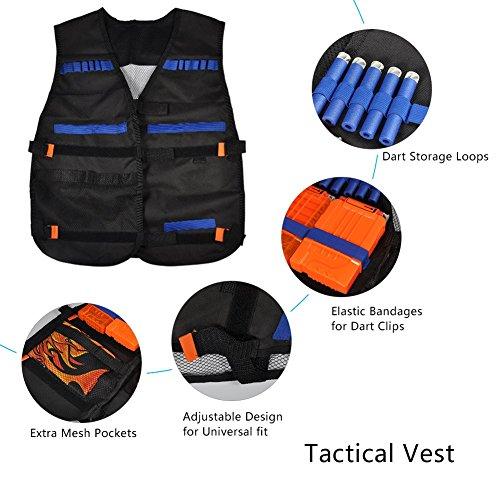 Chaleco-Tctico-para-N-Strike-Elite-Series-Chaleco-para-Balas-de-Pistola-de-Juguete-Cargadores-de-Balas-Gafas-de-proteccin-Pulsera-de-Balas-Pauelo-20Pcs-Dardos