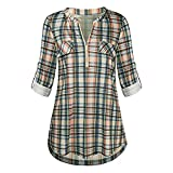 Xmiral Damen Shirt Bluse Rolled Sleeve Reißverschluss mit V-Ausschnitt Plaid Printed Tops(3XL,Gelb)