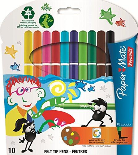 reynolds-lot-de-12-pochettes-de-10-feutres-a-dessin-pointe-pinceau-encre-lavable-pinsocolor