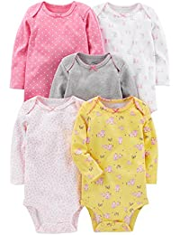 Simple Joys by Carter's 5-Pack Long-Sleeve Bodysuit Bebé-Niñas, Pack de 5