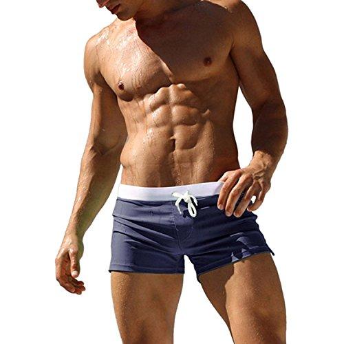 Imixcity Maillot de bain - Homme Boxer Trunks Shorts Pantalon Court de Sport Plage Mer Loisir (EU M / Taille:29'-31' (L) , Bleu marine)