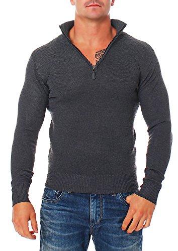 malito Maglione Cachemire Sweater Sweatshirt V-Neck Gilet Giacca Oversize Cardigan Casual SL200 Uomo (L, grigio scuro)