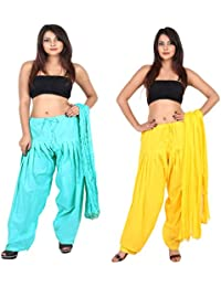Teej New Combo Offer For Women's 2 Solid Cotton Black Blue Patiala With Dupatta Set - B071FQZWWL