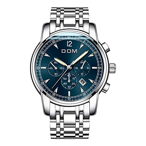 LSWGG Herren Damen mechanische Automatik-Uhr schwarz mit Edelstahl Metallarmband Skelett,Blue (Damen Fossil Skelett-uhr)