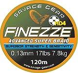 Savage Gear Finezze HD4 Braid 120m geflochtene Schnur gelb, Angelschnur, Schnüre zum Spinnfischen, Spinnangeln, Raubfischschnur, Hechtschnur, Zanderschnur, Barschschnur, Forellenschnur, , Durchmesser/Tragkraft:0.13mm / 7.8kg Tragkraft