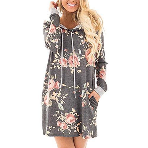 Femme Sweat-shirt à capuche Robe Longue chemise Femmes Fleurs Imprimer Robes à manches longues en coton à capuche robe Sweatshirts chauds Sport Casual à capuche noir gris bleu S M L XL hibote gray