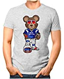 OM3® - New-England-Bear - T-Shirt | Herren | American Football Shirt | Super Bowl 53 LIII | NFL | XXL, Grau Meliert