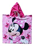 Mickey Mouse - Minnie Poncho-toalla infantil microfibra con capucha, 50x100 cm toalla, 50x50 cm poncho