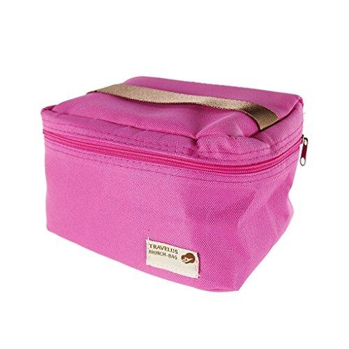 QHGstore Unisex térmica caja de almuerzo con aislamiento bolsa de asas de la bolsa de almacenamiento Rose