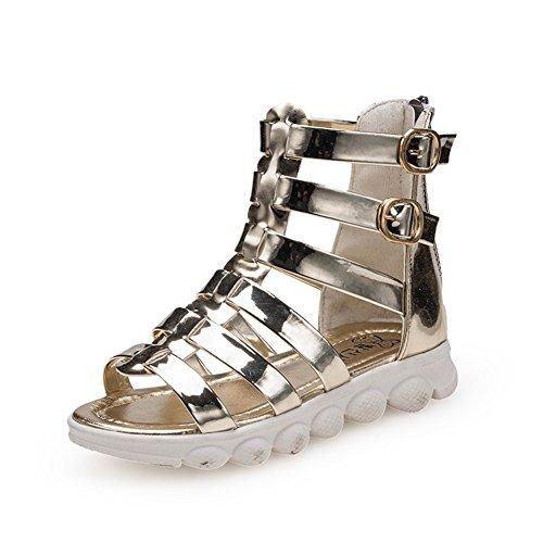 maxu fille Sandales à bout ouvert style romain Chaussures Doré