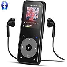 Reproductor Mp3 Bluetooth, 8 GB MP3 Metalico con Botón Táctil, Pantalla TFT a Colores de 1.8 Pulgadas, Apoya Extención hasta 128 GB, Negro- AGPTEK A16