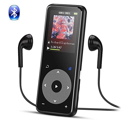 AGPTEK Lettore MP3 Bluetooth, 8GB Metallic MP3 con Pulsante di Tocco, Schermo TFT a Colori da 1,8 Pollici, Supporta l'estensione fino a 128 GB, Nero A16