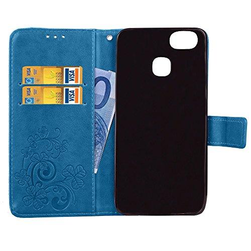 Double Magnetic Back Sucktion Retro Style PU Leder Flip Stand Case mit Kickstand und Wallet Beutel Funktion für Asus Zenfone 3 Zoom ZE553KL ( Color : Brown ) Blue