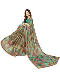 Glory Sarees Women's Printed Criva Crepe Saree(FT6004A_Multi-Coloured)