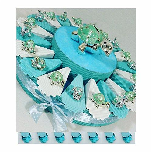 Bomboniere battesimo maschio animaletti argentati torta bomboniera portaconfetti madreperla celeste * (torta 20 fette 1 piano)