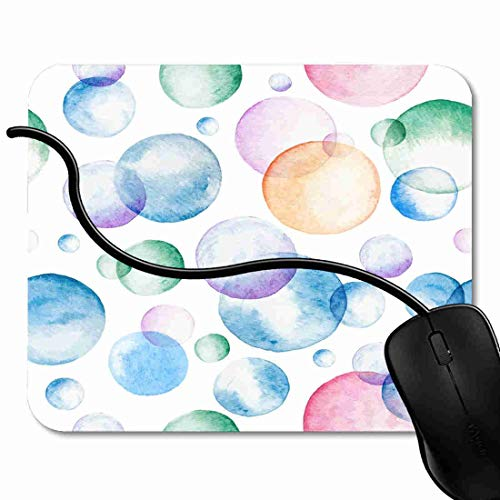 Mauspad Ball-blaue Aquarell-Blasen-Seife die in die Luft-Aqua-Bürste schwimmt Rutschfeste Gummi Basis Mouse pad, Gaming mauspad für Laptop, Computer 1X903 (Gummi-luft-blase)