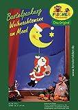 Fischer Fensterbild WEIHNACHTSMANN AM MOND / Bastelpackung / Größe: ca. 27x67 cm / zum Selberbasteln / Basteln zu Weihnachten aus Papier und Pappe