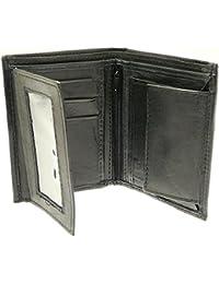 Porte-monnaie en cuir noir souple hommes et titulaire de la carte de crédit avec stockage de pièces
