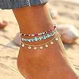 Handcess - Cavigliere Boho a strati di turchese con paillettes dorate, con nappe, cavigliere, perline da spiaggia, per donne
