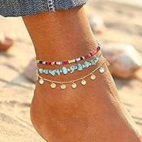 Handcess - Cavigliere Boho a strati di turchese con paillettes dorate, con nappe, cavigliere, perline da spiaggia, per…