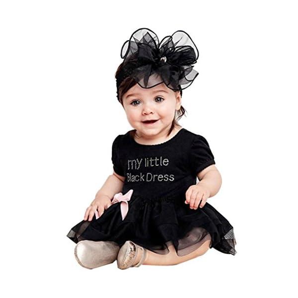 selezionare per lo spazio massimo stile prezzo onesto Rawdah Neonato neonato ricamato pizzo piccolo body vestito nero (0-6 mesi,  Nero)