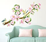 #3: Solimo Wall Sticker for Bedroom (Blushing Blossoms,  ideal size on wall: 145 cm x 80 cm)