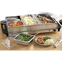 Cooks Professional Buffet Server Hotplate Food Warmer Hostess with 4 Removable Sections & Adjustable Temperature Control, 300W (Buffet Warmer)